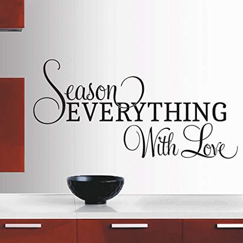 Season Everything With Love Pegatinas de azulejos Cocina Habitación Vinilo Tatuajes de pared Cotizaciones Removible Decoración moderna para el hogar Arte Wallpaper-