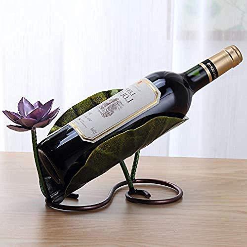 YAeele vino del hierro forjado estante de loto de acero inoxidable hoja de casa estante taza roja barra de colgar estante bandeja de pantalla de escritorio de la cocina sala de estar interior destacan