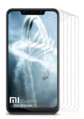 MoEx® Kristallklare HD Schutzfolie passend für Xiaomi Pocophone F1 | Displayschutzfolie Kratzfest + Fast unsichtbar, Ultra Klar 5X Stück