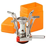 """FRIFLY Backpacking Stove, 3.3oz, 10000BTU, Piezo Ignitor Battery Unneeded, Windproof, Pots up to 8"""", Fits Butane Propane Canisters, Pocket Rocket Stove Camping Stove for outdoor cooking, hiking"""