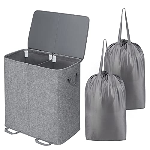 Lifewit Double Laundry Hamper with Lid and Removable Laundry Bags, Large Collapsible 2 Dividers Dirty Clothes Basket with Handles for Bedroom, Laundry Room, Closet, Bathroom, College, Grey