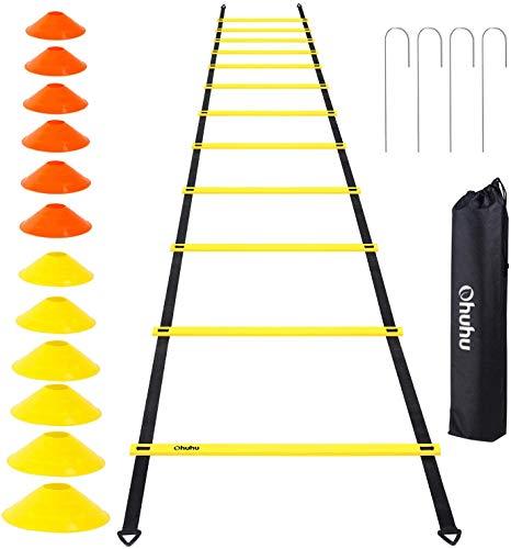 Ohuhu Set di Allenamento e agilità scaletta da12 gradini per la velocità con 12 Coni e 4 paletti, equipaggiamento per Allenamento con Scarpe da Calcio