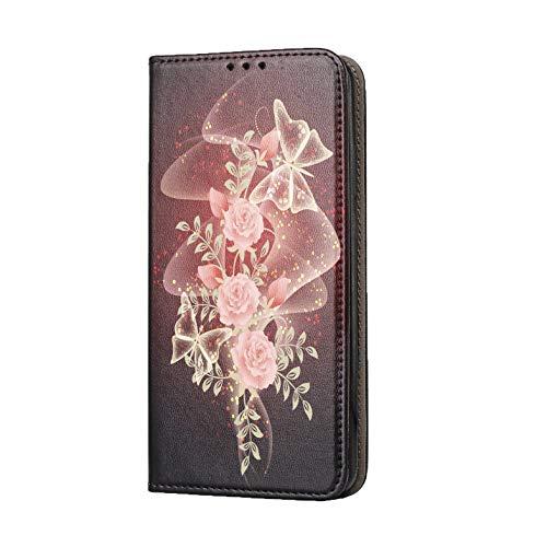 Hülle für LG K20 Handyhülle Motiv 1055 Rose Schmetterling Rot Rosa Schwarz Premium Smart aus Kunstleder einseitig Bedruckt HandyCover Handyhülle für LG K20 Hülle