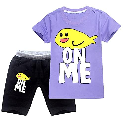 JIACHUN Fishy on Me - Juego de camiseta y pantalones cortos para niños y niñas, con diseño de pez en mí, para regalo