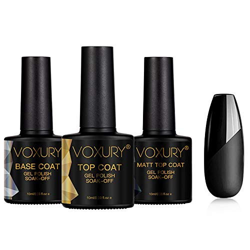 VOXURY Base y Top Coat y Matte Top Coat Semipermanente Esmalte Semipermanente de Uñas Gel UV LED Color 3pcs Kit de Manicura Soak off 10ml