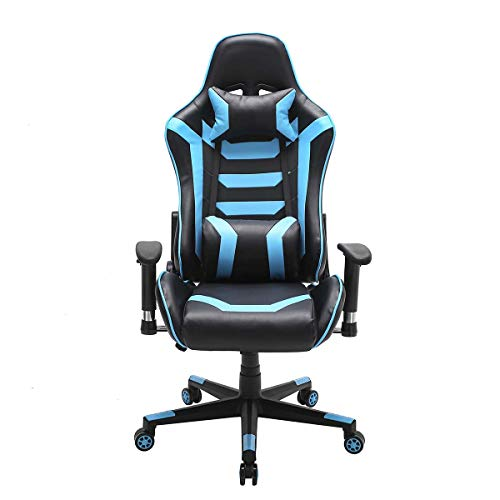 Vanimeu Gaming Chair Ergonomic Swivel Computer Chair Office Chair High Back Reclining PC Chair with Armrest and Lumbar Support Racing Style Gaming Chairs Desk Chair (Black+Blue)
