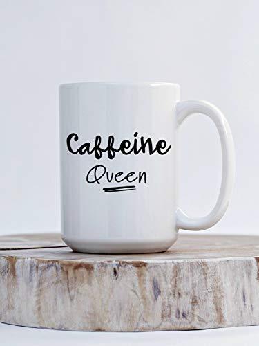 Thee mok, cafeïne koningin zwart handvat koffiemok cadeau voor de koningin in je leven cadeau Idea'S voor haar grappige koffie mok voor koffie liefhebber 15Oz grote mok