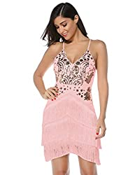 Pink Sequin Tassel Mini Bodycon Party Dress