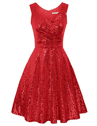 Sleeveless Sequin Flared Evening Prom Dress Nightclub Size 2XL Red CL061-6