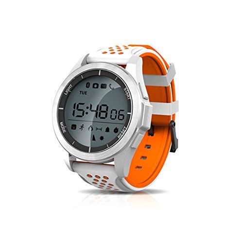 KawKaw F3 Sportuhr - Die 1,1 Zoll große Smartwatch mit Silikon-Armband sowie einen integrierten Gesundheits- und Fitness-Monitor und rundem Display wurde konzipiert für aktive Menschen (Weiß/Orange)
