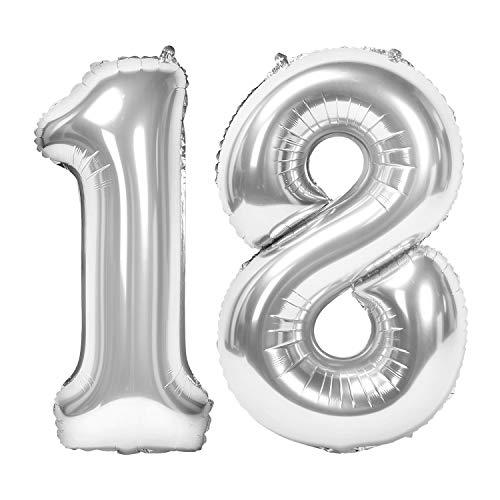 Siumir Numero Palloncino Numero 18 Argento Foil Palloncino Gigante Palloncino Digitali Decorazione Festa di Compleanno