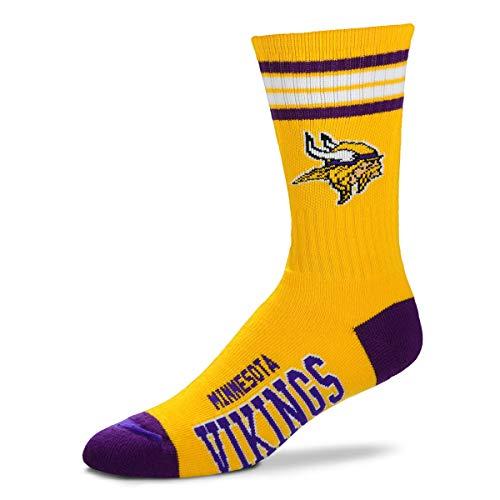 For Bare Feet NFL Men's Reverse 4 Stripe Deuce Crew Socks (Minnesota Vikings, Medium (5-10))