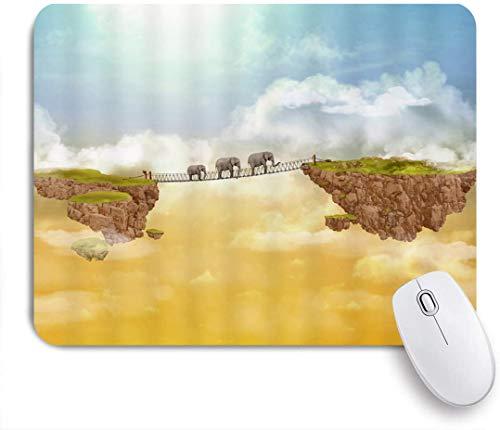 Dekoratives Gaming-Mauspad,Elefanten, die auf der schwimmenden grünen Insel der Zugbrücke gehen,Bürocomputer-Mausmatte mit rutschfester Gummibasis