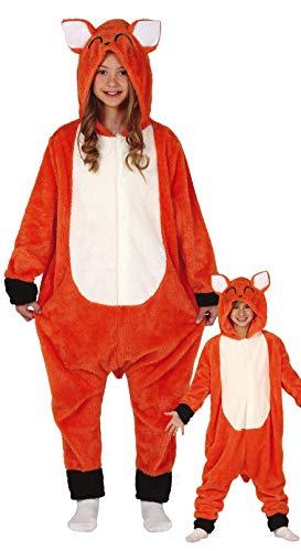 Guirca rotes Fuchs Kostüm für Kinder - Größe 110-146 - Wald Tier Fasching Karneval, Größe:140/146