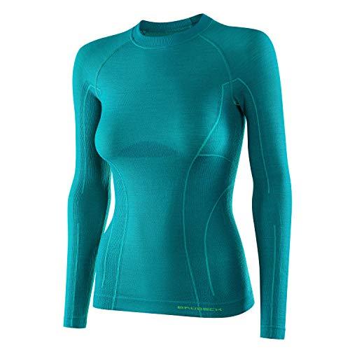 BRUBECK Donna Maglietta Funzionale a Maniche Lunghe   Traspirante   Termo   Sport   Outdoor   41% Lana Merino   LS12810   Smeraldo   Taglie: M