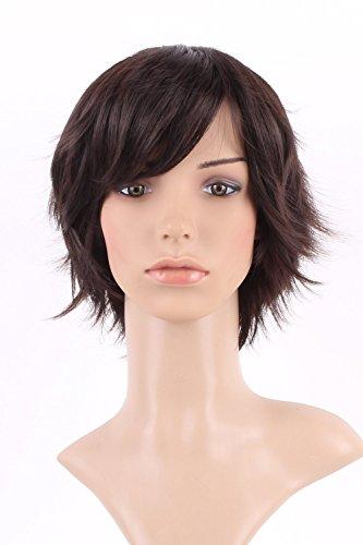 S-noilite Women Ladies Short Wig Natural Layered Wavy Cury Synthetic Hair Dark Brown Full Wig + Free Wig Cap