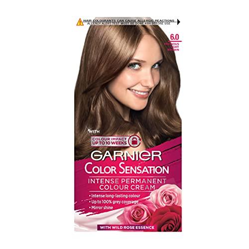 Garnier Color Sensation Brown Hair Dye Permanent 6.0 Precious Light Brown (Packaging may vary)