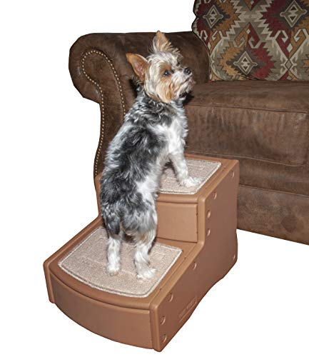 Pet Gear Easy Step II Pet Stairs, 2 Step for Cats/Dogs up to 75-pounds, Portable, Removable Washable Carpet Tread, Pecan