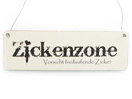 Interluxe Vintage Deko Schild Türschild ZICKENZONE Shabby Nostalgie Landhaus Holz weiß