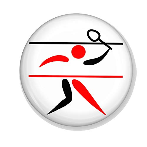 Gifts & Gadgets Co. Badminton-Spieler-Anstecker, 58 mm, rund, bedruckt