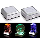 2 Pack 6 Colors LED Light Base Show Stand Display Plate with Sensitive Touch Switch for 3D Laser Crystal Glass Art (Square)