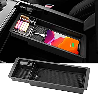 Ecarzo Center Console Organizer Fits for 2021 Ford F150 Console Tray Storage Box Accessories (Full Console w/Bucket Seats ONLY)