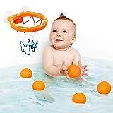 6 Piezas Juguetes de Baño de Baloncesto para Bebés| 5 Pelotas y 1 Canasta | Durable y No Tóxico| Perfecto Regalo de Cumpleaños Navidad para Niños| ¡Haga Que la Hora del Baño Sea Divertida!