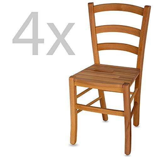 Staboos 4er Set Stühle, Esszimmerstühle Holz-Stuhl CH71 - bis 150 kg - Buche geölt - Holzstühle Esszimmer - Küchenstühle Holz