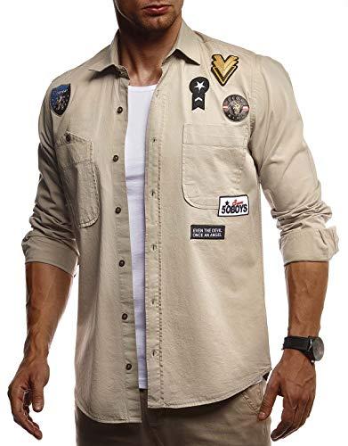 Leif Nelson Herren Hemd Freizeithemd T-Shirt Langarm 100% Baumwolle Männer Langarmshirt Oversize Jeanshemd Jungen Basic Shirt Kurzarmshirt Jeansjacke Sommerhemd LN3845 Beige XX-Large