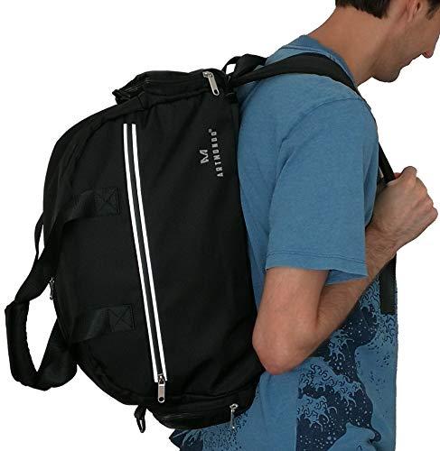 Sporttasche mit Rucksack & Schuhfach Damen Herren - Reflektorband - Reisetasche Weekender - Männer & Frauen Fitnesstasche Gymtasche Sporttasche mit Rucksackfunktion - Schulrucksack Reiserucksack