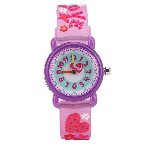 Kinder Armbanduhr, 3D Cartoon wasserdichte Armbanduhr PVC Armbanduhr für Kinder Kleinkind Jungen Mädchen Mädchen 3-12 Jahre alt(Lila)
