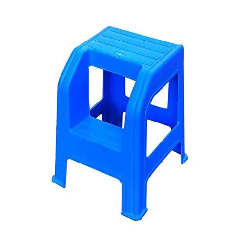 Freizeitstuhl für Kinder Ascend Chair Autowaschhocker Two Steps Hocker Kunststoff High und Low Hocker Two Steps Hocker Two Layers Leiter Hocker Tritthocker (Color : Blue)