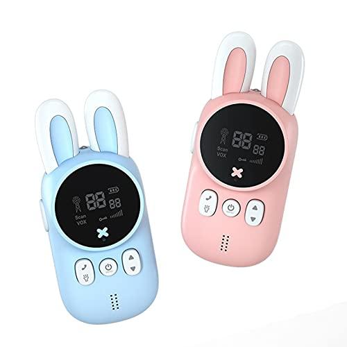 Domeilleur 2pcs Conejo Walkie-Talkie para niños Llamada inalámbrica de Mano 3Km Distancia máxima efectiva Interacción Entre Padres e Hijos Juguetes Regalo para niños niñas