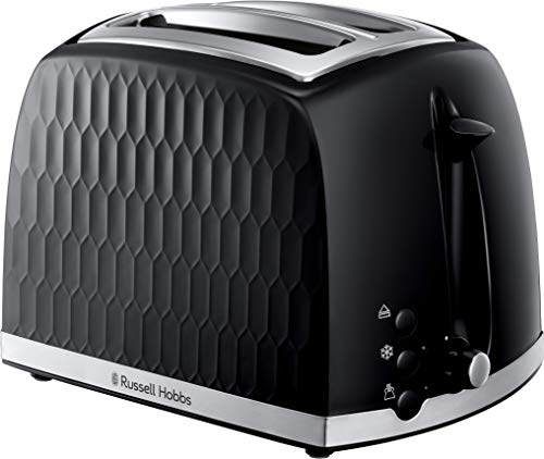 Russell Hobbs 2 and 4 Slice Toaster - Contemporary Honeycomb Design with Extra Wide Slots and High Lift Fetaure