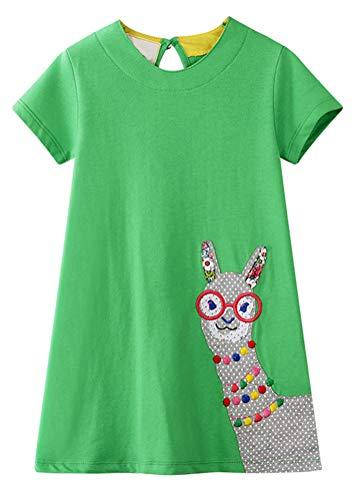 BTGIXSF Little Girls Cotton Dress Short Sleeves Casual...