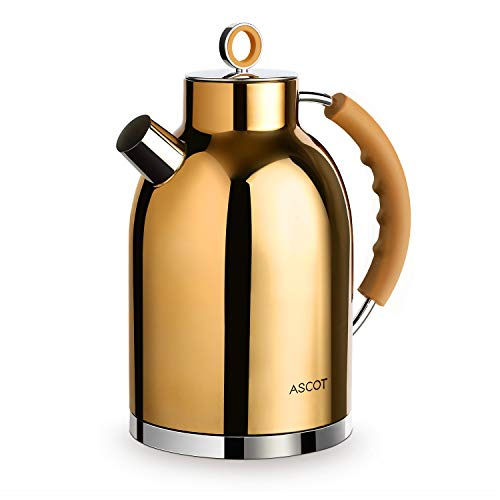 Electric Kettle, ASCOT Stainless Steel Electric Tea Kettle, 1.7QT, 1500W, BPA-Free, Cordless, Automatic Shutoff, Fast Boiling Hot Water Heater - Copper