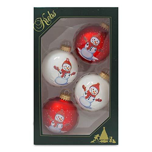 Krebs Glas Lauscha - 2 rote und 2 weiße Christbaumkugeln mit Schneemanndekoration - 7 cm - 4 Stück