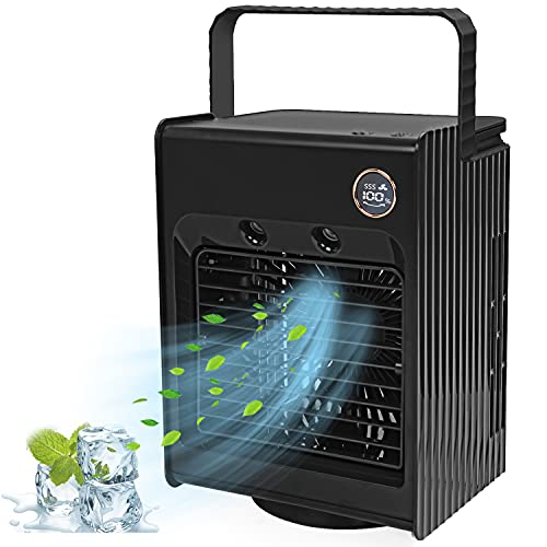 Maybret 冷風機 冷風扇 扇風機 卓上冷風機 卓上 小型 120°自動首振り USB充電式 ライト付き 「4in1機能搭載」 送風 加湿機能 冷却機能 空気清浄機能 スポットクーラー スポットエアコン 強力 ミニクーラー ポータブルエアコン 風量3段階調整 静音 氷いれ可能 省エネ 軽量 人気 熱中症対策 車中泊 オフィス 個室 野外のテント 寝室 自宅用 日本語説明書 (ブラック)