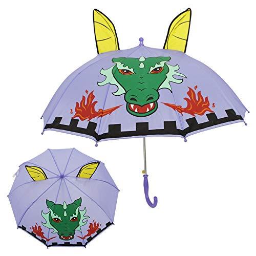 weichuang Paraguas 3D con estampado de animales lindo paraguas para niños de dibujos animados mango largo para niños niños niños niños paraguas de lluvia niña herramientas paraguas (color: 1)
