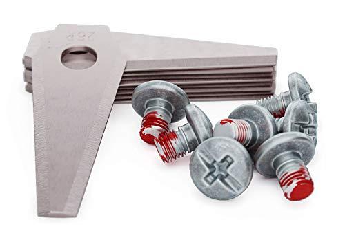 MOWHOUSE Juego de Cuchillas de Repuesto Cortacésped - Recambio de Cuchillas de Acero Inoxidable Endurecido Compatible con Bosch Indego - 9 piezas, 9 tornillos