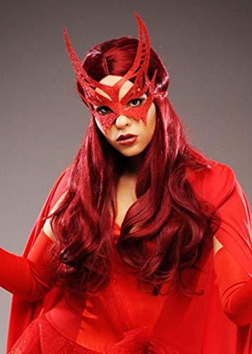 Magic Box Peluca y máscara Estilo Bruja Escarlata para Mujer