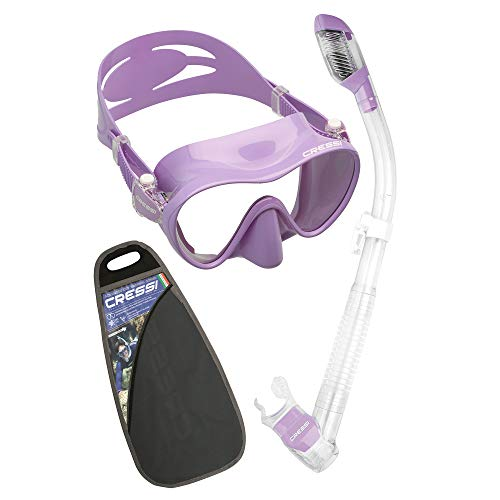 Cressi F1 & Dry Set - Combo Conjunto de Máscara y Snorkel para Adultos, Unisex, Lila