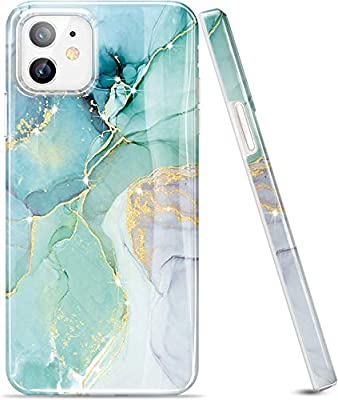 LUOLNH Gold Glitter Sparkle Case Compatible with iPhone 12 and iPhone 12 Pro 6.1 Inch (2020 Release) Marble Design Shockproof Soft Silicone Rubber TPU Bumper Cover Skin Phone Case-Abstract Mint