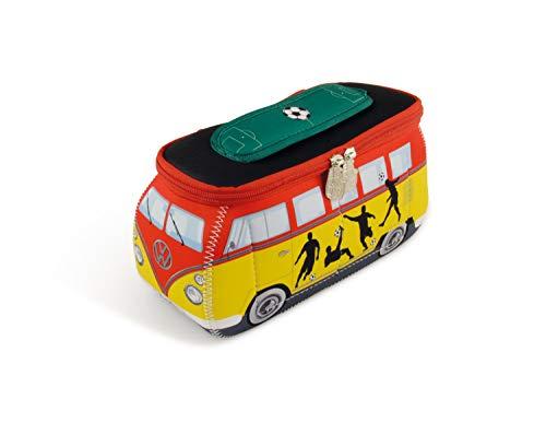 BRISA VW Collection Volkswagen VW T1 Bus Bolsa Universal de Neopreno, Estuche para lápices, Caja de papelería, Neceser, Bolso de Maquillaje-Cosméticos-Aseo para Escuela/Oficina (Fútbol/Multicolor)