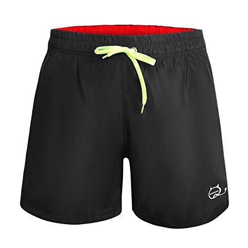 KAMA BRIDAL Mens Swim Trunks with Mesh Lining Beach Shorts Quick Dry Black L