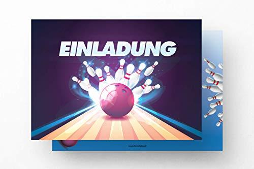 Friendly Fox Einladung Bowling Strike - 12 Einladungskarten Bowling zum Geburtstag Kinder Mädchen Junge Teenager - Einladung Kindergeburtstag - Kegel Geburtstagskarte - Bowling Game