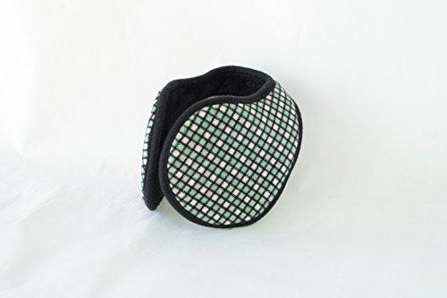 TPOS イヤーマフ 耳あて 耳カバー シンプル コンパクトなイヤウォーマー チェック柄 6色 (緑×白)
