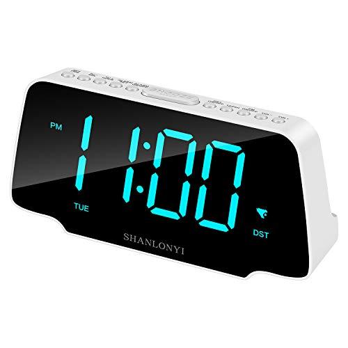 SHANLONYI Radio Despertador Digital con Pantalla 9', Led Cian, 3 Niveles de Intensidad, Repetición de Alarma, Radio FM, 12/24H, Auto DST, Cargador USB para Niños, Personas de Sueño Pesado, Ancianos