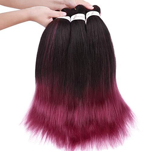 Trenza pre Estirada Extensión del Cabello Trenzado 3Packs EZ Braiding Hair Yaki Pre Hair Estirado 50 cm Extensiones de cabello (Negro a Burg, 3 piezas/paquete)