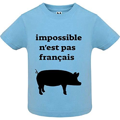 LookMyKase T-Shirt - Impossible n est Pas Franc ais - Bébé Garçon - Bleu - 6mois